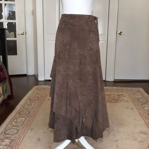 Genuine Suede maxi skirt with ruffle detail